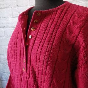 Vintage Sweaters - Button Front Vintage Red Long Sleeve Sweater